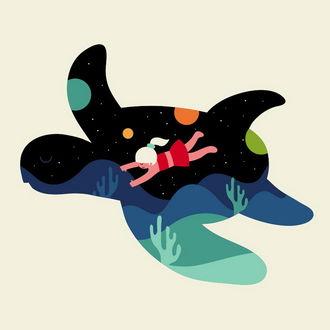 Фото Девочка летит на черепахе, иллюстратор Andy Westface