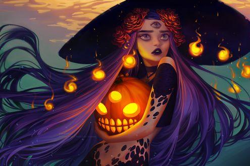 Фото Трехглазая ведьма с тыквой в руках, by mior3e