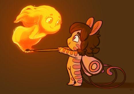 Фото Девочка эльф зажгла спичку и в пламени появился маленький покемон, by Jenny Clements