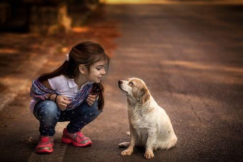 Фото Девочка с собакой сидят на дороге, by panagiotis laoudikos