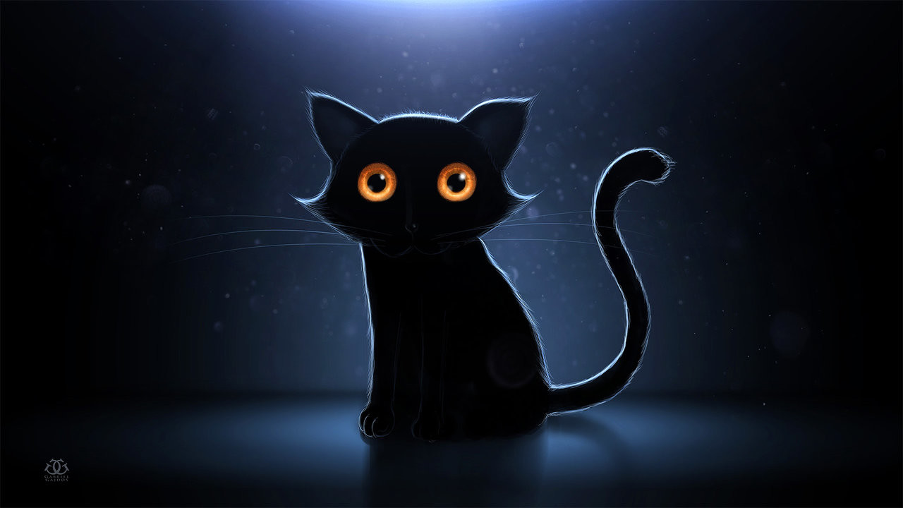 Картинка на черном фоне котенок