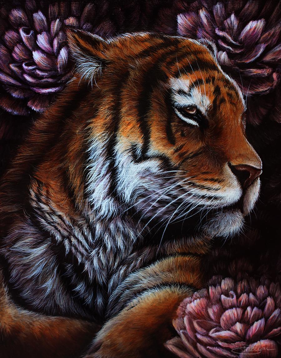 Тигр с цветком картинка
