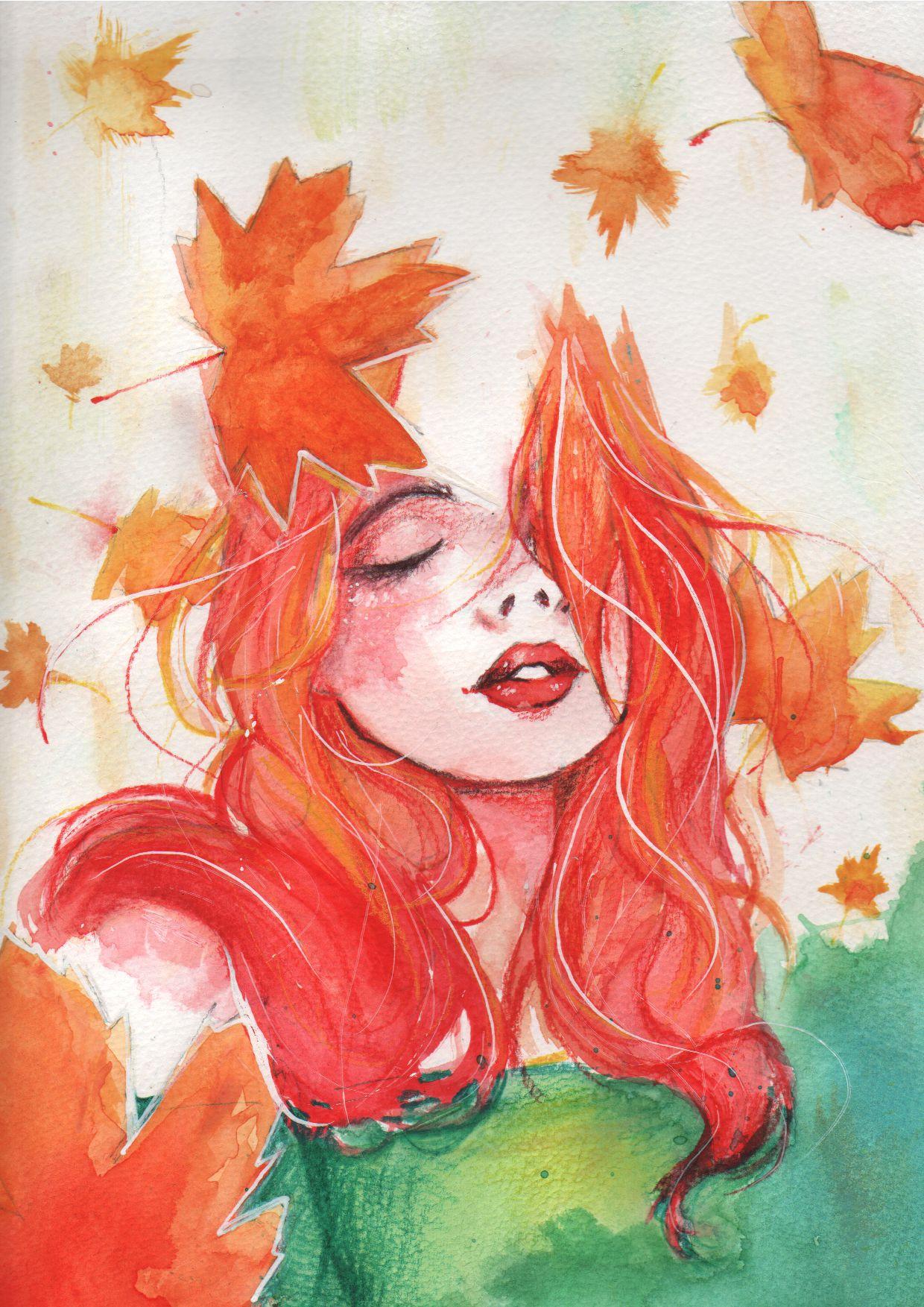 Картинка девушка и осень нарисованная