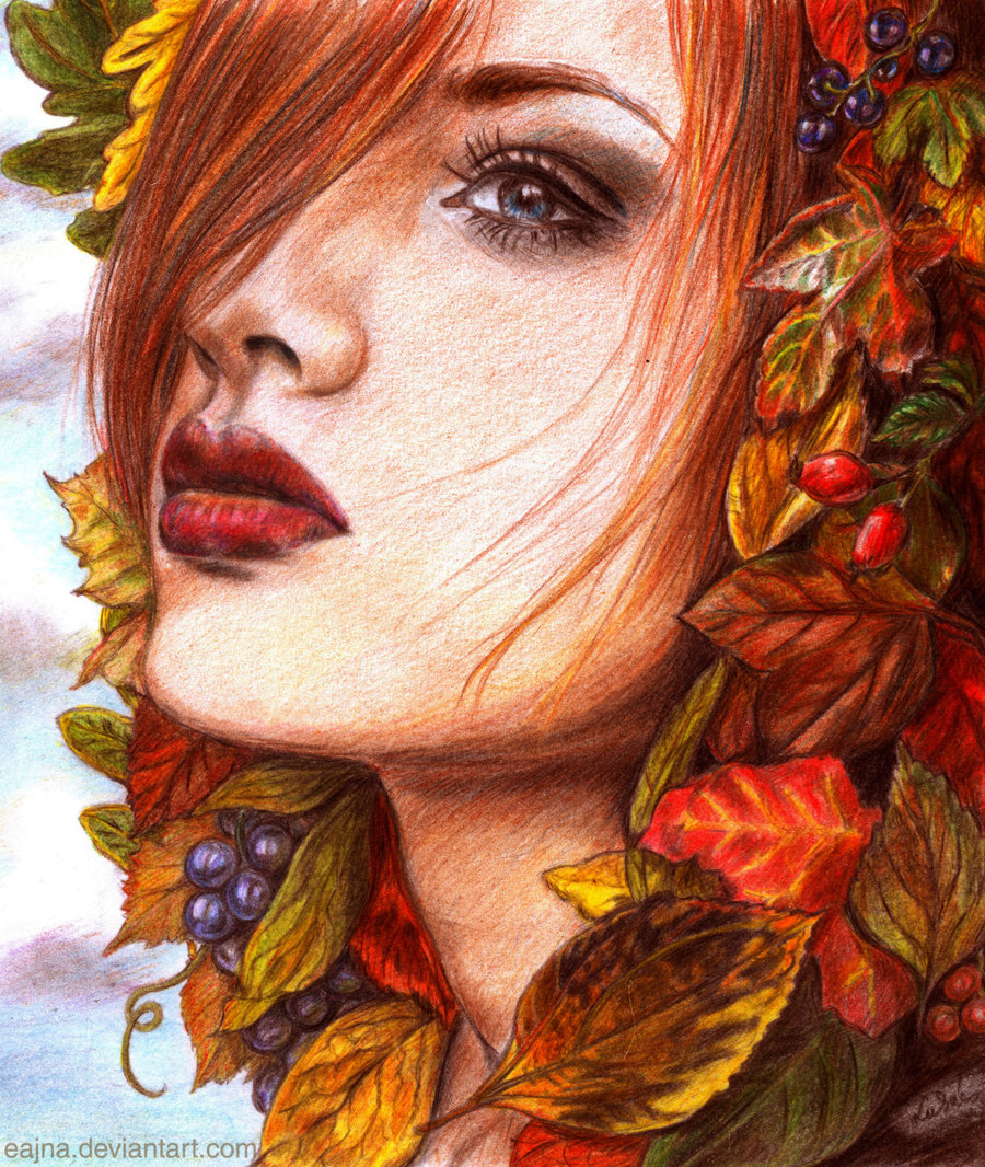 Рисунок лицо девочки осени
