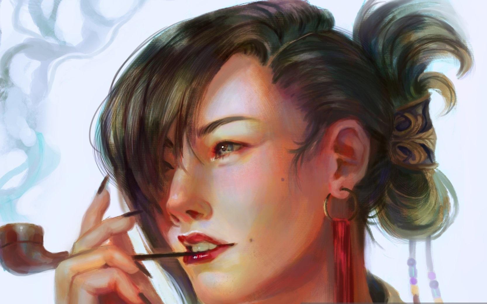 Картинки девушка с трубкой