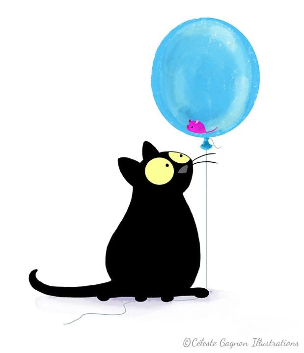 картинки с днем рождения котик с шариками выбор