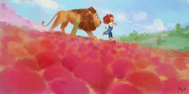 Фото Лев и мальчик идут по цветочному полю