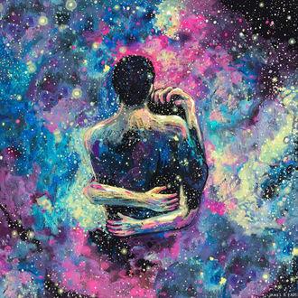 Фото Влюбленные на фоне космоса, иллюстратор James R. Eads