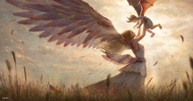 Фото Девушка-ангел держит на руках маленького демона, by cha4os
