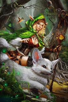 Фото Царица эльфов и белый фенек идут по сказочному лесу, by ALEXANDRA CVETKOVA