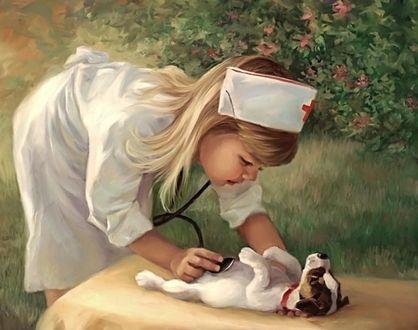 Фото Девочка в одежде врача лечит щенка, играя в больничку, автор Ольга Викторовна Петрович