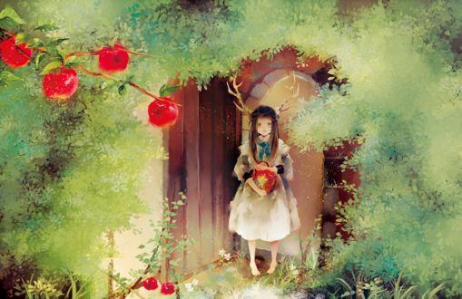Фото Рогатая девочка с корзиной яблок в руках стоит в дверном проеме, by あこ