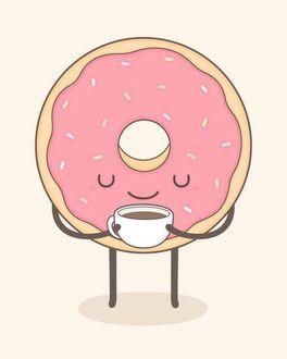 Фото Розовый пончик с кружкой кофе
