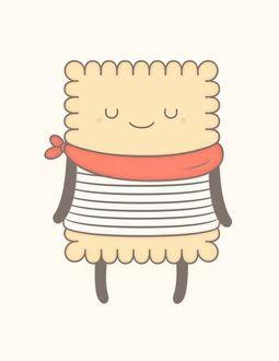 Фото Довольная печенька с красным платком на шее