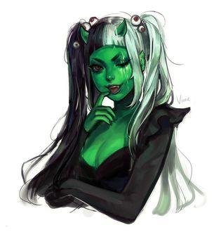 Фото Девушка-демон с двумя хвостиками, на которых резинки из глаз, держит руку у рта