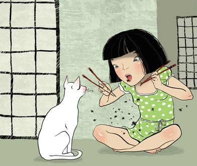 Фото Девочка учит кошку, как правильно пользоваться палочками, рисунок Ярославы Крутаковой