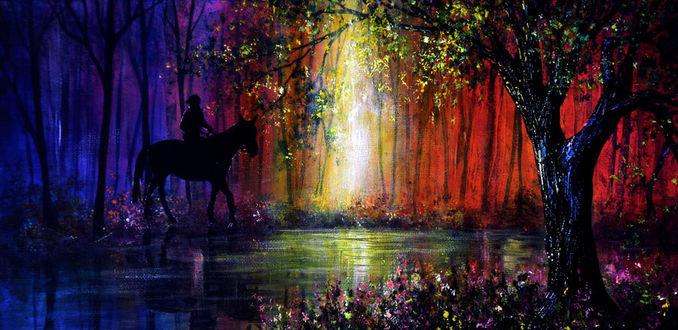 Фото Всадник на лошади стоит у реки, by AnnMarieBone on DeviantArt