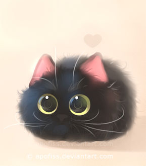 Фото Черный котенок с огромными глазами, by Apofiss