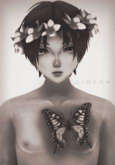 Фото Парень с бабочкой на груди, by Snetva