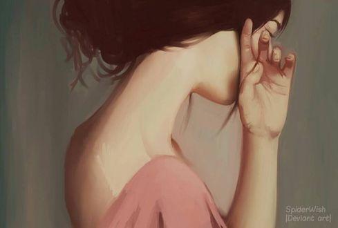 Фото Грустная девушка с рукой у лица, by Mardigitalart