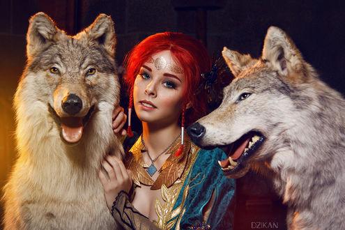 Фото Косплей Трисс Меригольд / Triss Merigold из игры The Witcher 3 / Ведьмак 3 и два волка, by Disharmonica