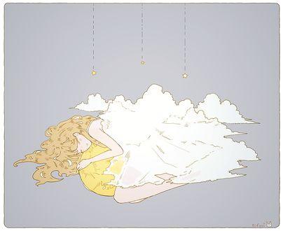 Фото Девушка спит на солнце, укрывшись облаками, by tofuvi