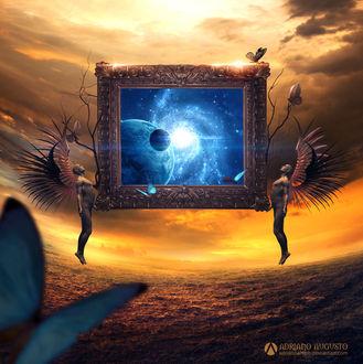 Фото Работа The Another Dimension / другое измерение, в руках мужчин с крыльями картина с голубым космосом, by adrianoampb