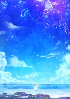 Фото Девочка в шляпке и белом платье наблюдает за медузами, парящими в космосе, стоя на морском берегу, by smile