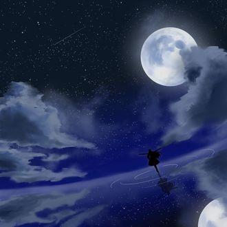 Фото Силуэт девушки, танцующей на поверхности воды, на фоне ночного неба и полной луны, by ユヰト