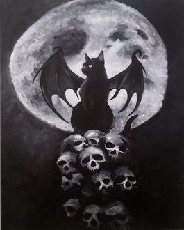 Фото Черный кот с крыльями летучей мыши сидит на черепах, by Lanetti16