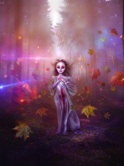 Фото Девочка под падающей листвой, by thegirlcansmile