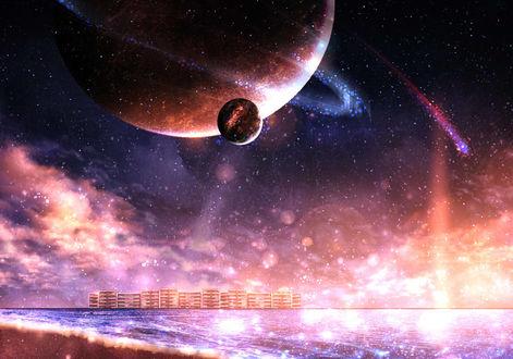Фото Планеты в ночном небе над морем, by CZY