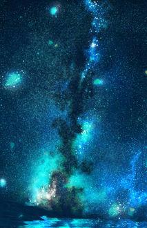 Фото Млечный путь в ночном небе над морем, by うさたろす@サンクリG8b