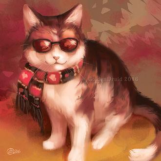 Фото Кот с шарфиком на шее и в очках, by GoldenDruid