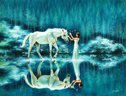 Фото Девушка с лошадью стоят в воде