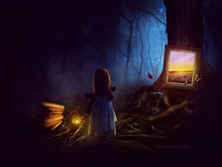 Фото Девочка стоит в магическом лесу с фонарем в руке и игрушечным мишкой перед светящейся картиной, by ZedLord-Art