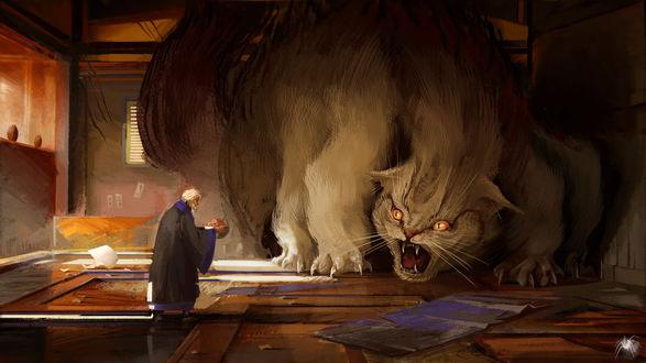 Фото Старик стоит перед огромным котом, by Reicheran