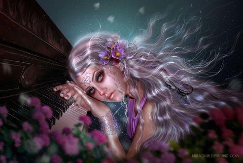 Фото Девушка с длинными волосами лежит на клавишах пианино, by brietolga