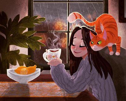 Девушка кот еда