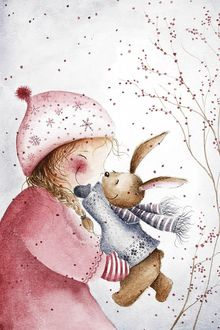 Фото Девочка и кролик обнимаются