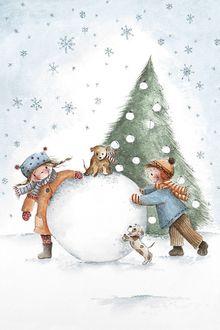 Фото Дети с щенками катят снежный ком на фоне елки