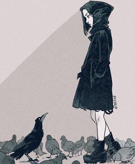 Фото Девушка в черном плаще с капюшоном и ботинках стоит среди голубей напротив черного ворона, by Picolo-kun