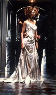 Фото Мужчина и девушка в свадебном платье в полутемном коридоре, художник Rob Hefferan / Роб Хефферан