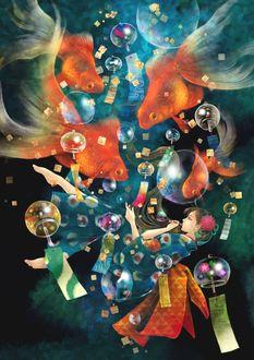 Фото Девушка, одетая в кимоно, пускает мыльные пузыри, паря среди золотых рыбок и колокольчиков, by Rien