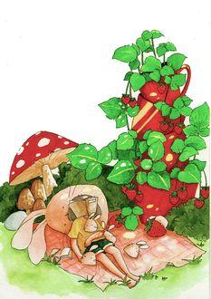 Фото Девочка лежит на пледе на природе в окружении кроликов, за ней растут грибы и красные кружки, в которых выросла земляника, Art by daisuchan