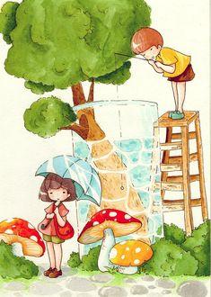 Фото Девочка с голубым зонтиком стоит на дорожке около грибов, мальчик на лестнице с удочкой ловит рыб в бассейне, в котором растет дерево, Art by daisuchan