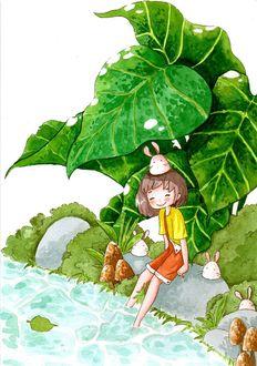 Фото Девочка с кроликами у речки, Art by daisuchan