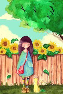 Фото Девочка с кошкой стоит у забора, за которым подсолнухи, Art by daisuchan