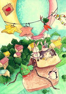 Фото Девочка с кроликами летит на самодельном воздушном шаре, сделанным из старого ботинка, Art by daisuchan