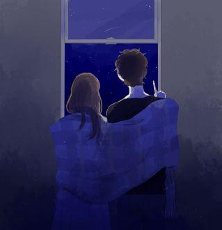 Фото Девушка и парень смотрят в окно на падающие звезды, by はるこ